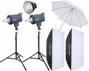 BRESSER Studio Flashes Set: 2x CX-400 + Promotion Package 4