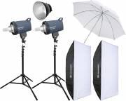 BRESSER Studio Flash Set: 2x CX-400 + Promozione pacchetto 4