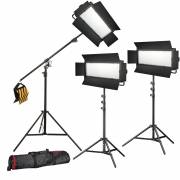 BRESSER LED Photo-Video Set 3x LG-1200 72W/11.800LUX + 3x Treppiede