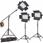 BRESSER LED Photo-Video Set 3x LG-500 30W/4600LUX + 3x Treppiede