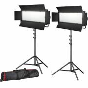 BRESSER LED Photo-Video Set 2x LG-900 54W/8.860LUX + 2x Treppiede