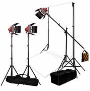 BRESSER Kit di Illuminazione e Fondale No.7 con 3 Lampade alogene SG-800D con Dimmer