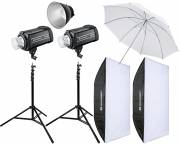 BRESSER Studio Flashes Set: 2x GM-600 + Promotion Package 4