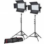BRESSER LED Photo-Video Set 2x LG-600 38W/5600LUX + 2x Treppiede
