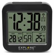 EXPLORE SCIENTIFIC Digital Table and Travel Alarm with radio-controlled Clock and Indoor Temperature Display