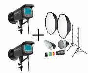 BRESSER Studio Flashes Set: 2x CM-300 + Promotion Package 1
