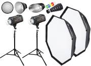 BRESSER Studio Flashes Set: 2x FM-600 + Promotion Package 1