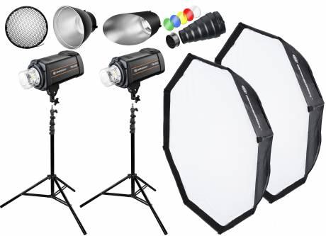 BRESSER kit de flash de estudio: 2x FM-400 + Paquete Acción 1