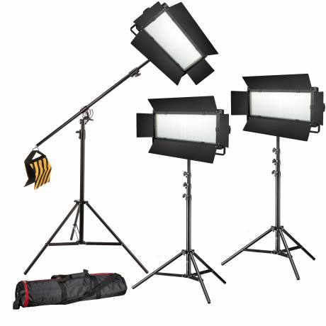 BRESSER LED Foto-Video Set 3x LG-1200 72W/11.800LUX + 3x Stativ