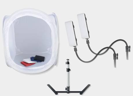 BRESSER BR-2820L Lichtzelt 60x60x60cm für Produktfotografie mit LED Beleuchtung