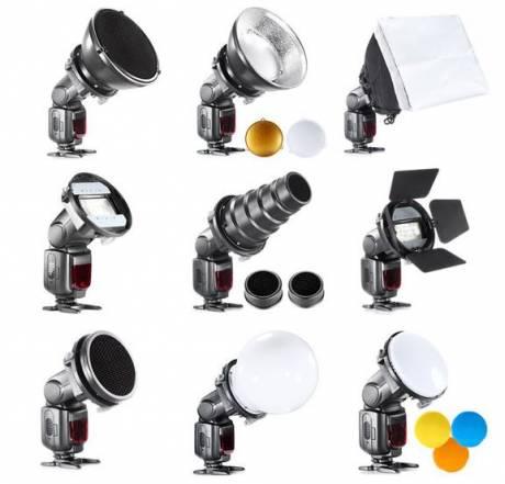 BRESSER BR-SET7 Juego 7 Piezas de Modificadores de Luz para Flashes compactos
