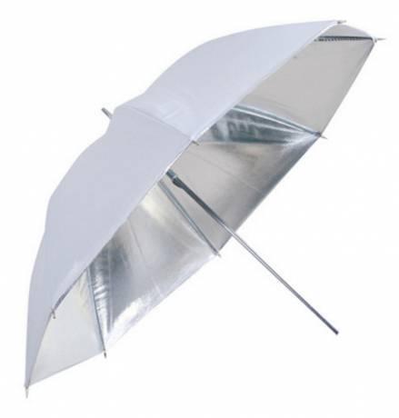 BRESSER SM-04 Ombrello riflettente argento/bianco 83cm