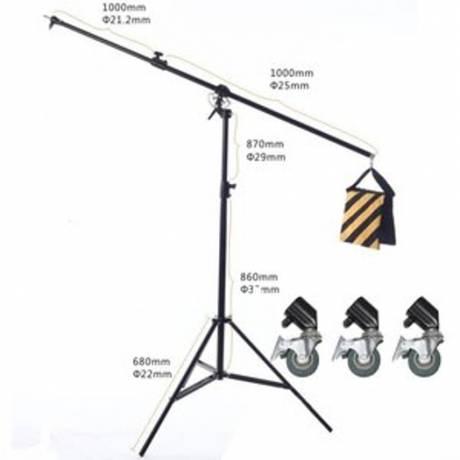 BRESSER BR-BLS215 Lampenstativ mit Auslegearm und Rollen