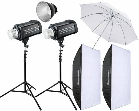 BRESSER Studio Flashes Set: 2x GM-400 + Promotion Package 4