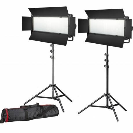 BRESSER LED Photo-Video Set 2x LG-900 54W/8.860LUX + 2x Treppiede