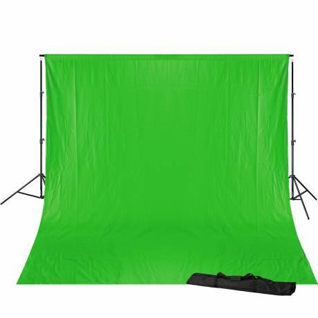 BRESSER BR-D23 Hintergrundsupport 240x300cm inkl. chromakey grünem Hintergrundtuch 3x6m