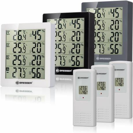 BRESSER Temeo Hygro Quadro - thermo- and hygrometer with 4 independent measuring details