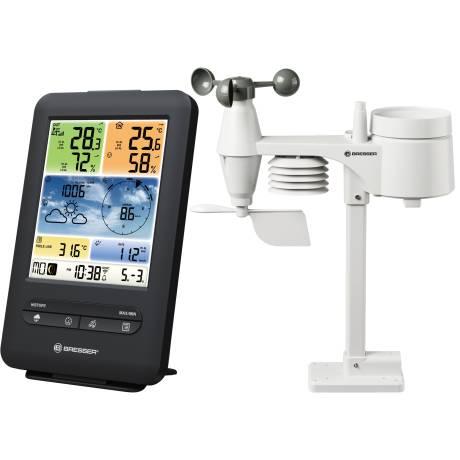 BRESSER WLAN Farb-Wetter Center mit 5-in-1 Profi-Sensor V