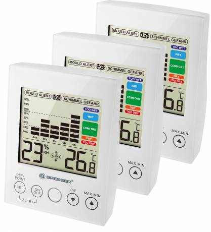 BRESSER MA digital Hygrometer with Mould Alert - Set of 3 white