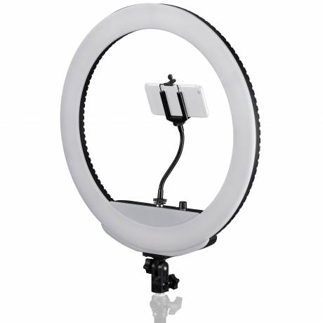 BRESSER MM-26AB Bi-Color LED Ring Lamp 48W with Dimmer and Support for Smartphone