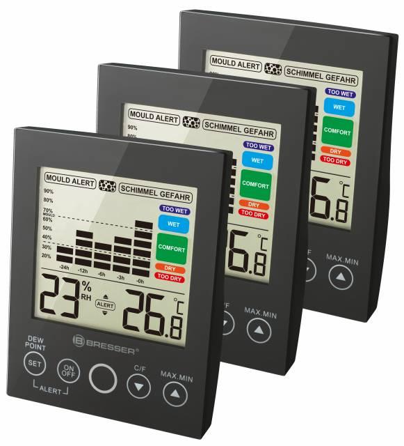 Hygromètre numérique BRESSER MA avec Alerte de Moisissure - Set de 3 pièces / noir