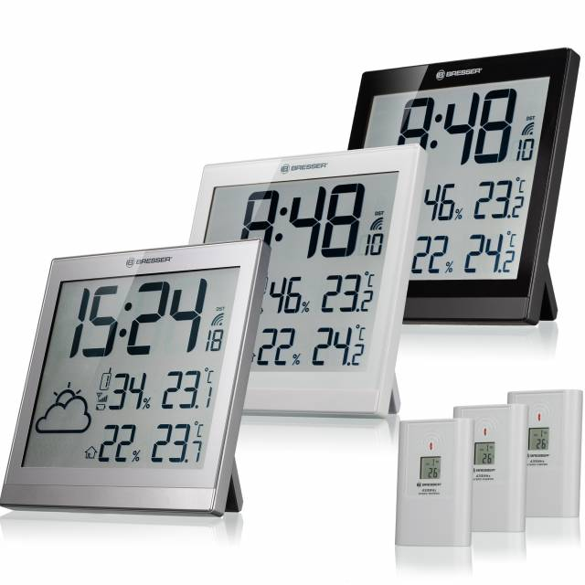 BRESSER LCD Wetter-Wanduhr TemeoTrend JC