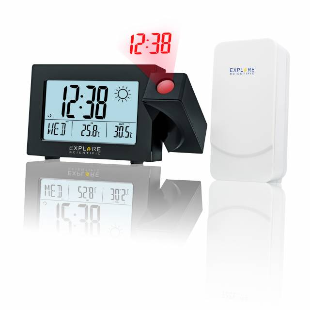 EXPLORE SCIENTIFIC Projection Radio-controlled Alarm Clock with Weather forecast