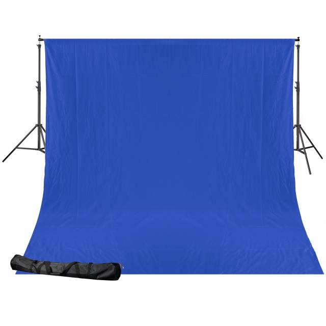 BRESSER BR-D24 Background system + Cloth (2.5 x 3.0 m) chromakey blue