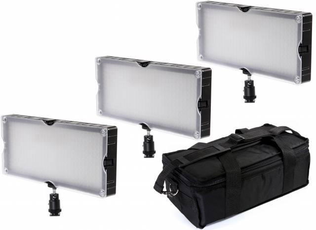 Set da 3 pannelli luminosi a LED bicolore BRESSER SL-360A