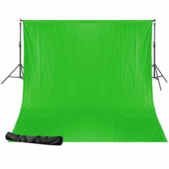 BRESSER BR-D24 Background system + Cloth (2.5 x 3.0 m) chromakey green