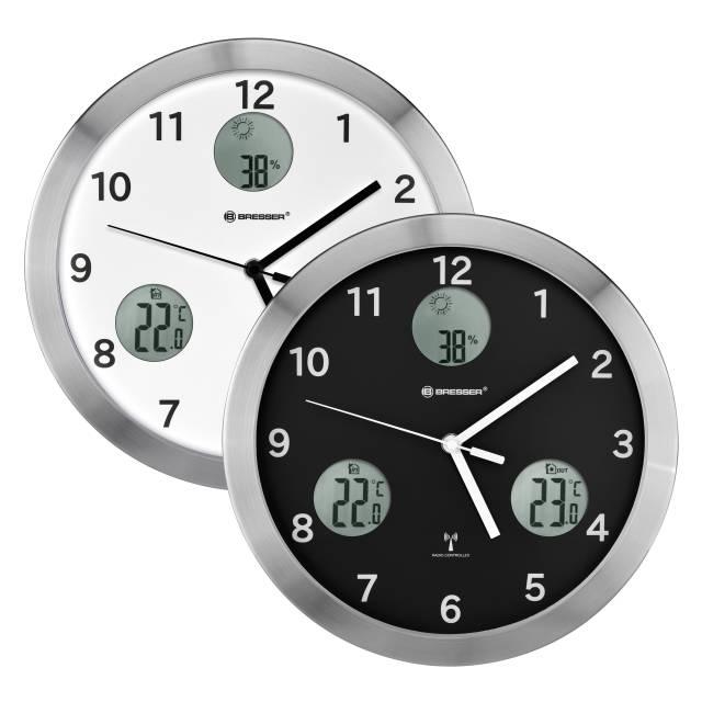 BRESSER MyTime Io Horloge murale radio pilotée avec Mesure de Temperature et Humidité - Diamètre 30 cm