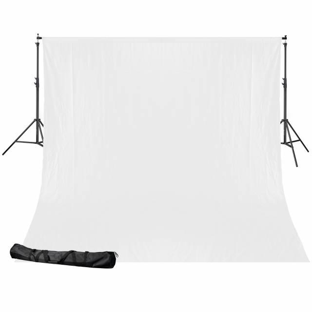 BRESSER BR-D24 Background support + 2.5x3m Cloth white