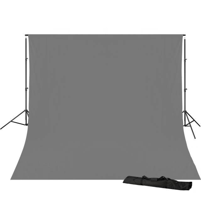 BRESSER BR-D23 Background Support 240x300cm including grey Background Cloth 3x6m