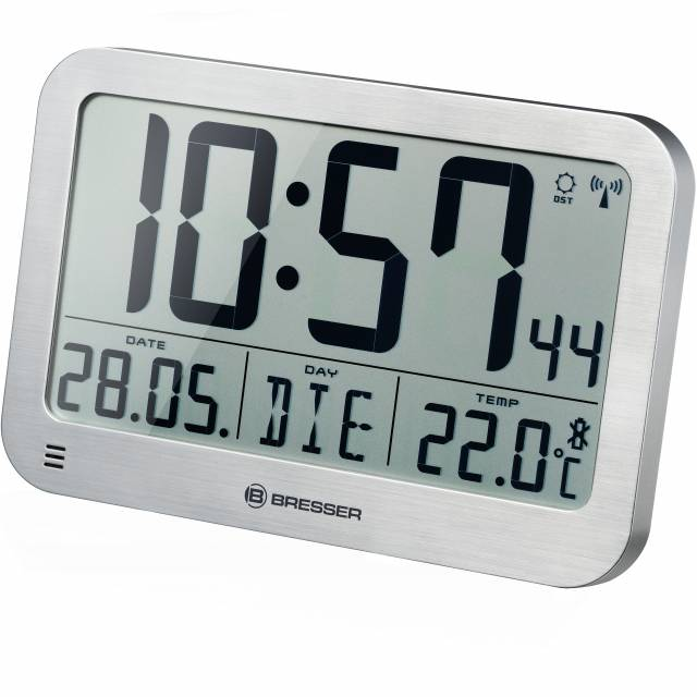 BRESSER MyTime MC LCD Wall /Table Clock silver 225x150mm
