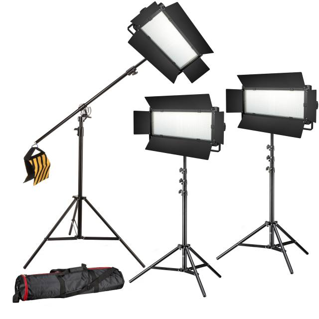 BRESSER LED Foto-Video Set 3x LG-900 54W/8860LUX + 3x Stativ
