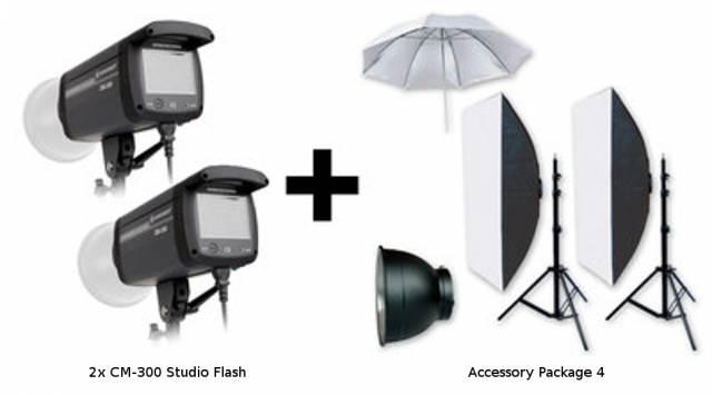 BRESSER Set de flash de studio: 2x CM-300 + Forfait Promotion 4