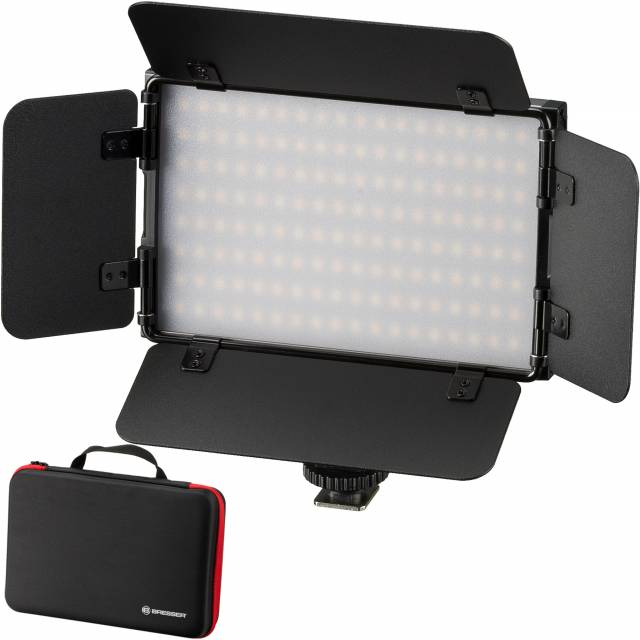 BRESSER PT 15B -II LED Bi-Color set met Kleppenset, Accu, Netvoeding en tas