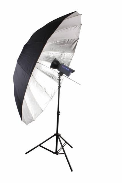 BRESSER SM-09 Jumbo Reflective Umbrella silver/black 180 cm