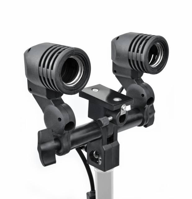 Portalampada universale BRESSER MM-02 per 2 lampade con supporto per ombrelli fotografici