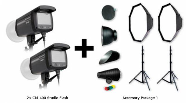 BRESSER Set de flash de studio: 2x CM-400 + Forfait Promotion 1