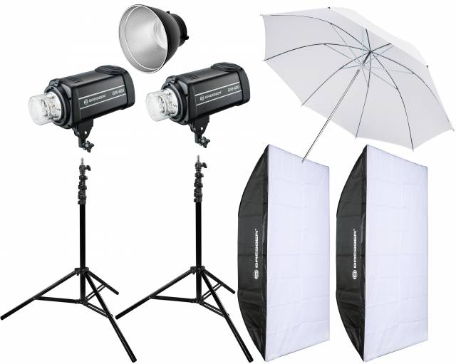 BRESSER Set de flash de studio: 2x GM-600 + Forfait Promotion 4