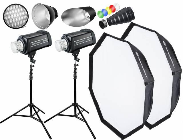 BRESSER Studio Flashes Set: 2x GM-800 + Promotion Package 4