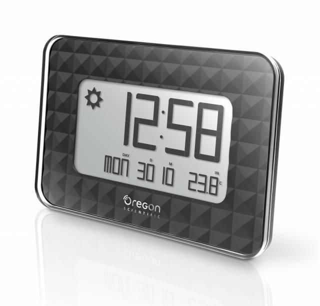 Oregon Scientific radio controlled GLAZE digital wall clock black with weather forecast