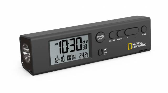 NATIONAL GEOGRAPHIC RC world time clock w. temperature and flashlight