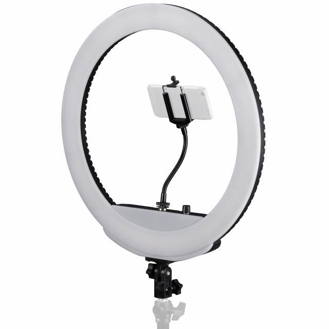 BRESSER MM-26AB Bi-Color LED Ringleuchte 48W dimmbar mit Smartphonehalter und Fernauslöser