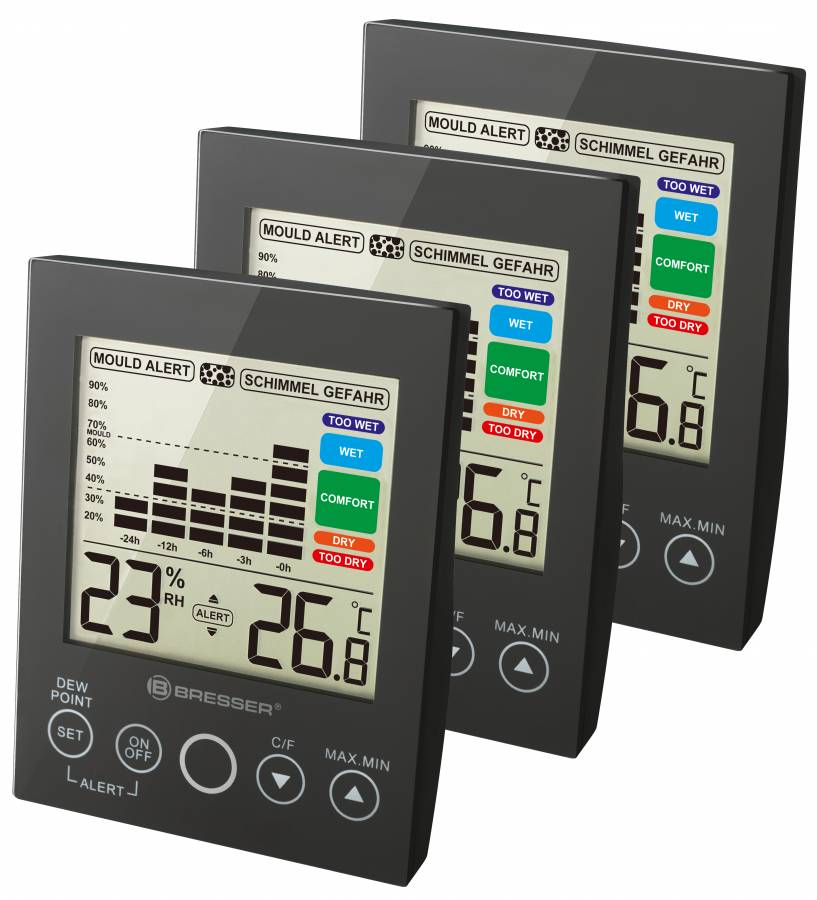 BRESSER MA digital Hygrometer with Mould Alert - Set of 3 black