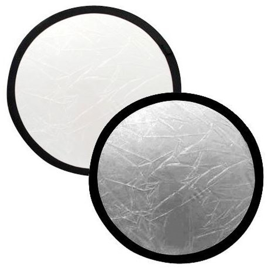 Reflector plegable 2-en-1 BRESSER TR-8 redondo de 80cm plata/blanco