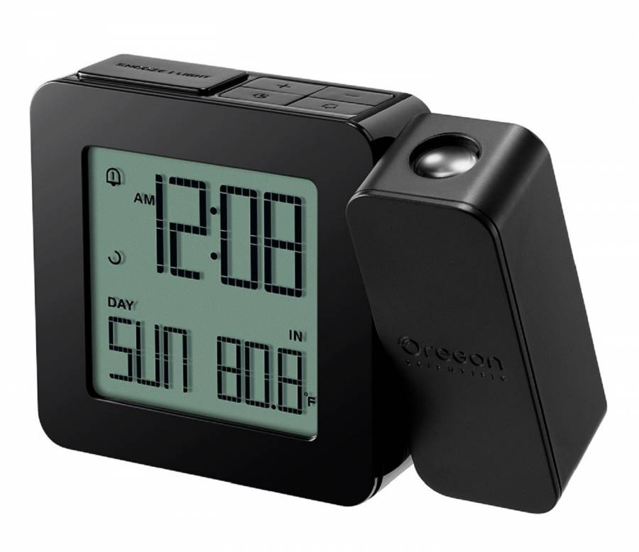 Oregon Scientific Wireless Projection Clock with Indoor Temperature - Black