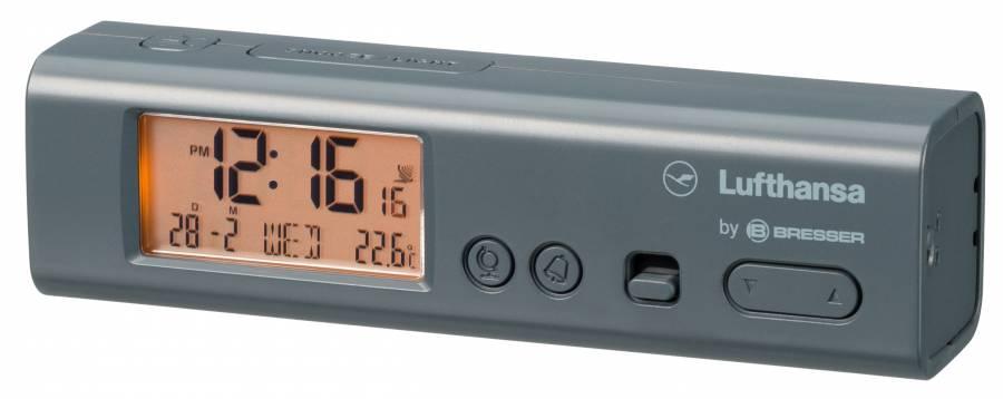 LUFTHANSA Weltzeitwecker mit Thermometer und Taschenlampenfunktion