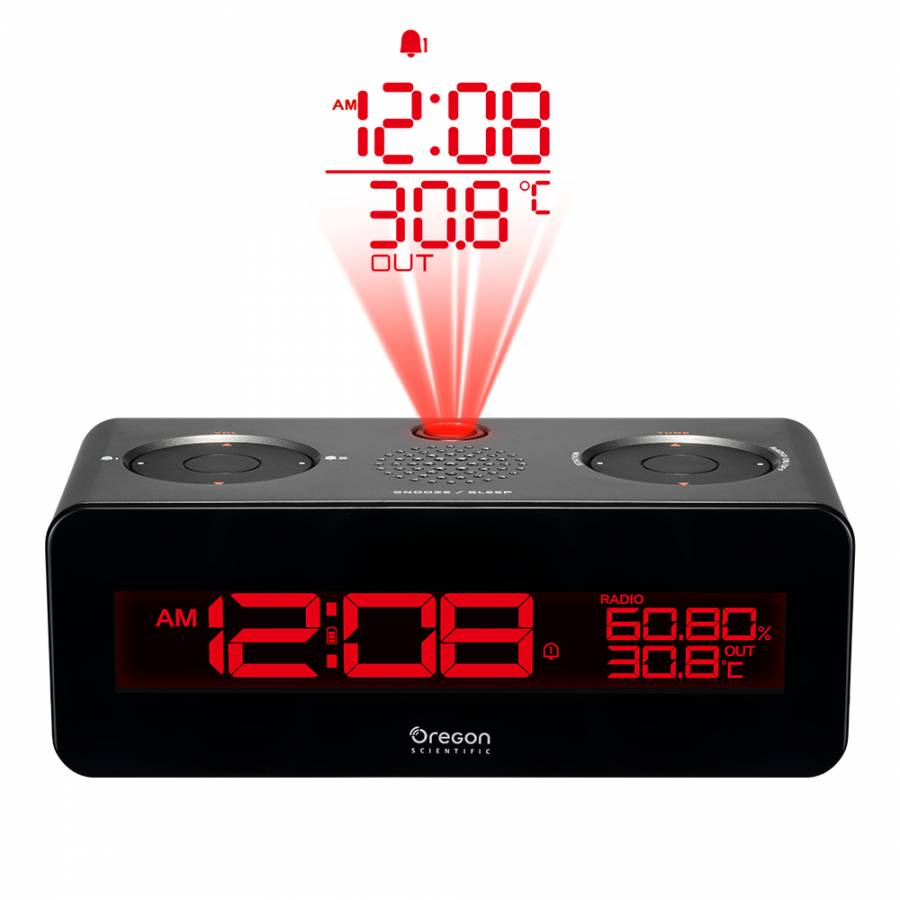 Oregon Scientific Clock Radio with Projection Clock and Dual Alarm Clock (anthracite)